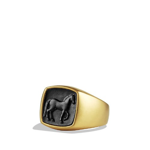 Petrvs Horse Signet Ring With Carved Black Jade In Gold by David Yurman in Crazy, Stupid, Love.