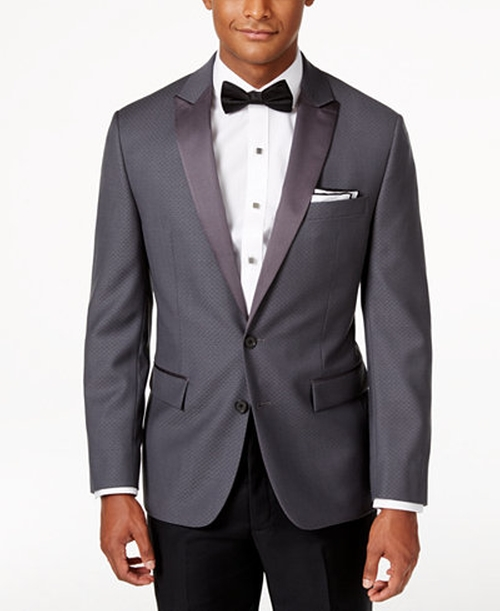 Slim-Fit Grey Tuxedo Sport Coat by Ryan Seacrest Distinction in Nerve