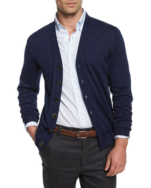 Wool-Blend Button Cardigan by Brunello Cucinelli in Joshy