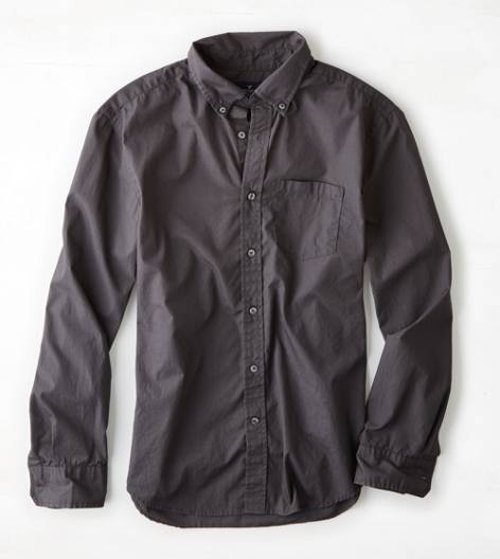 Solid Poplin Button Down Shirt by American Eagle Outfitters in The Town