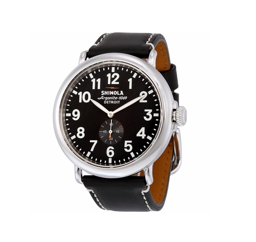 Runwell Black Leather Watch by Shinola in The Accountant