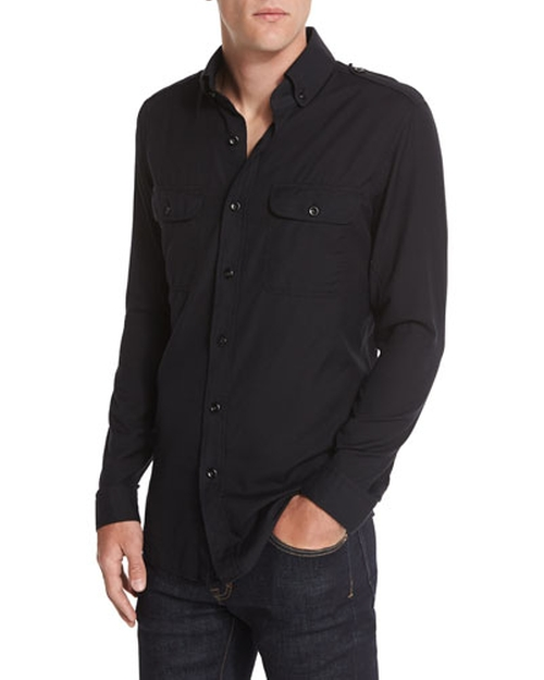 Washed Cotton-Cashmere Sport Shirt, Black by Tom Ford in GoldenEye