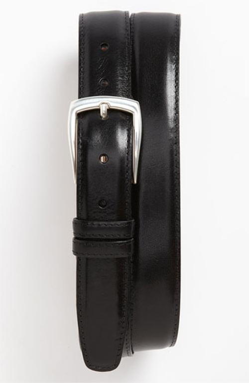 'Hamden' Calfskin Belt by Trafalgar in Black Mass