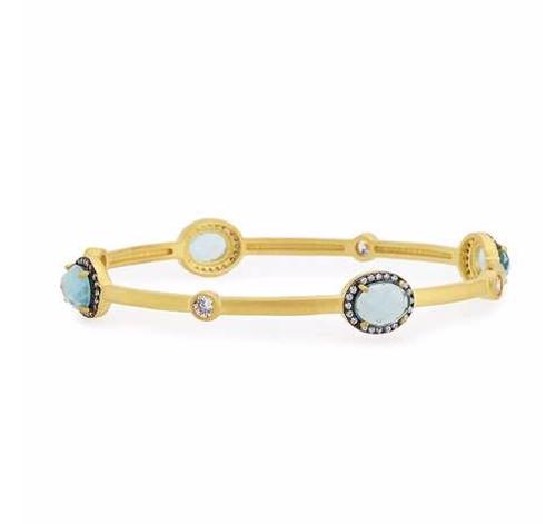 Oval Aqua Crystal Station Bangle Bracelet by Freida Rothman in Mistresses - Season 4 Episode 2