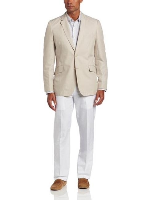 Men's Fitted Linen Cotton Herringbone Textured Blazer by Cubavera in Transcendence