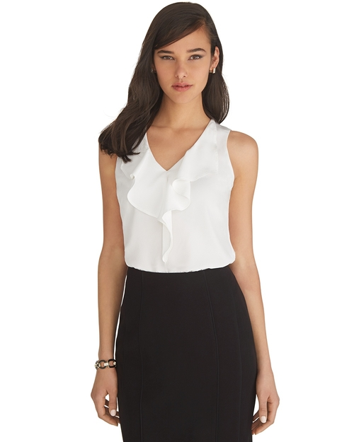 Sleeveless White Ruffle Shell Top by White House Black Market in Suits - Season 5 Episode 6