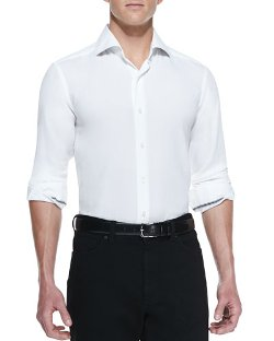 Solid-Pique Long-Sleeve Shirt by Ermenegildo Zegna in Top Five