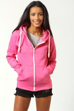 Ciara Marl Brushback Zip Through Hoody by BooHoo in New Year's Eve