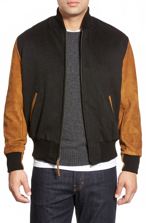 Wool Varsity Jacket With Suede Sleeves by Golden Bear in Ride Along 2