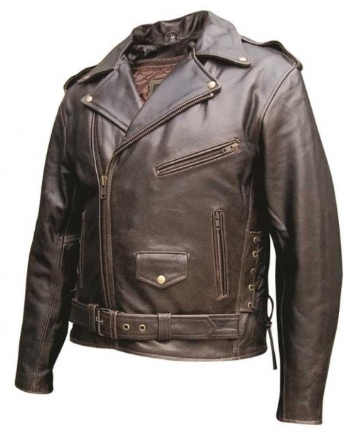 Basic Premium Buffalo Retro Brown Leather Jacket by Allstate Leather in Twilight