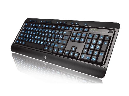 Large Print Tri-Color Backlit Wired Keyboard by Azio in Transcendence