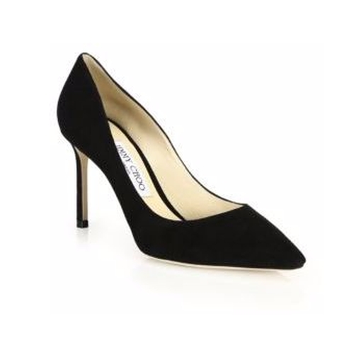 Romy 85 Suede Point-Toe Pumps by Jimmy Choo in The Boss