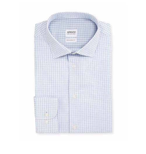Modern Fit Shadow-Check Dress Shirt by Armani Collezioni in The Good Place - Season 1 Episode 3