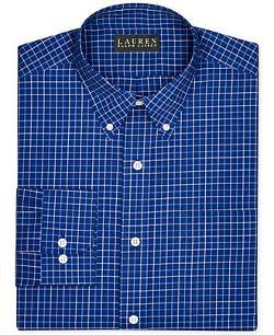 Non-Iron Slim-Fit Poplin Check Dress Shirt by Lauren Ralph Lauren in The Judge