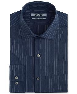Slim-Fit Petrol Dobby Stripe Dress Shirt by DKNY in No Strings Attached