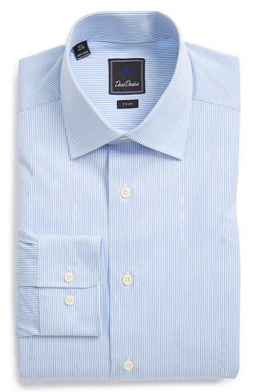 Trim Fit Stripe Dress Shirt by David Donahue in While We're Young