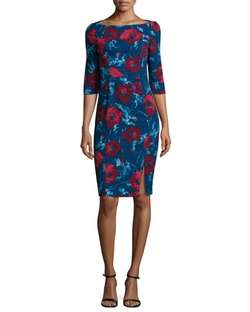 3/4-Sleeve Floral-Print Dress by Black Halo in Scandal