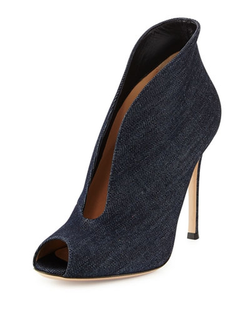 Denim V-Neck Peep-Toe Bootie by Gianvito Rossi in Empire - Season 2 Episode 2
