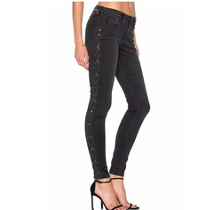 Lace Up Skinny Jeans by Etienne Marcel in New Girl