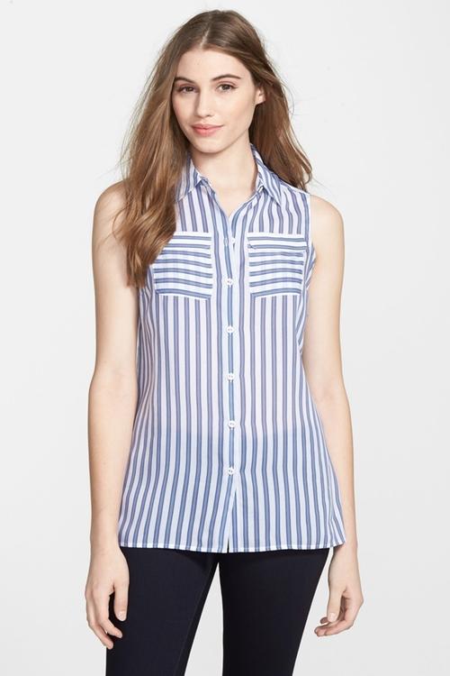 Stripe Sleeveless Shirt by Foxcroft in Jane the Virgin - Season 2 Looks
