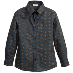 Crown Print Cotton Shirt by Dolce & Gabbana in Empire