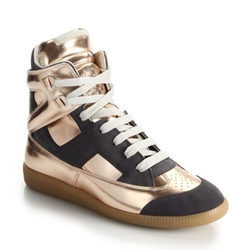 Metallic Leather & Suede High-Top Sneakers by Maison Margiela  in Empire