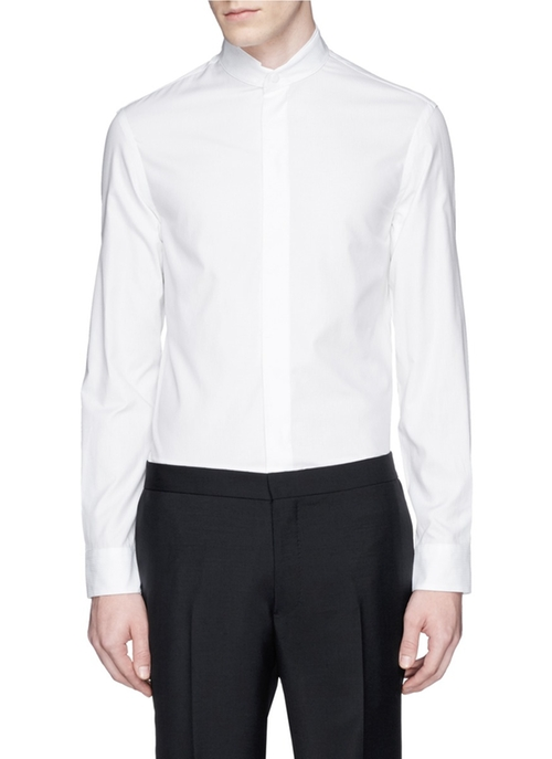 Mandarin Collar Cotton Shirt by Armani Collezioni in The Hunger Games: Mockingjay - Part 2
