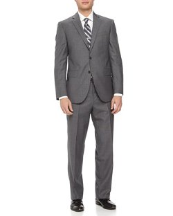 Two-Piece Neat Wool Suit by Neiman Marcus in Black or White