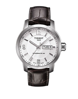 Automatic Leather Strap Watch by Tissot in The Flash