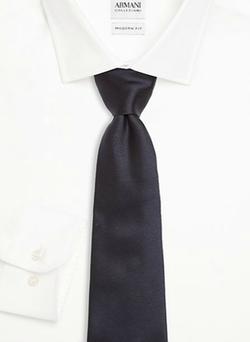 Solid Silk Tie by Armani Collezioni in Black Mass