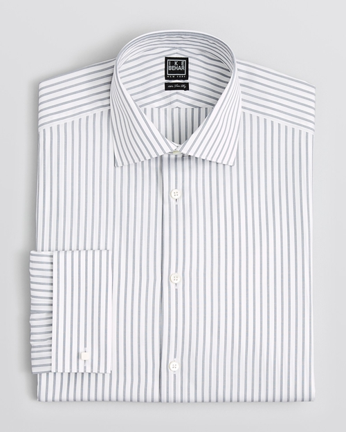 Stripe Dress Shirt by Ike Behar in Black Mass