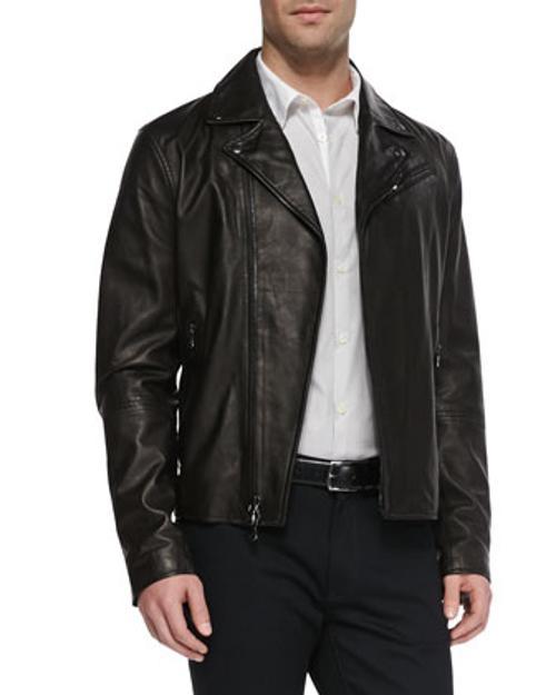 Leather Moto Jacket, Fine-Stripe Sport Shirt & Luxe 5-Pocket Pants by Star USA in Jersey Boys