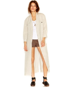 Three-Quarter-Sleeve Stand-Collar Linen Duster Coat by Free People in The Second Best Exotic Marigold Hotel