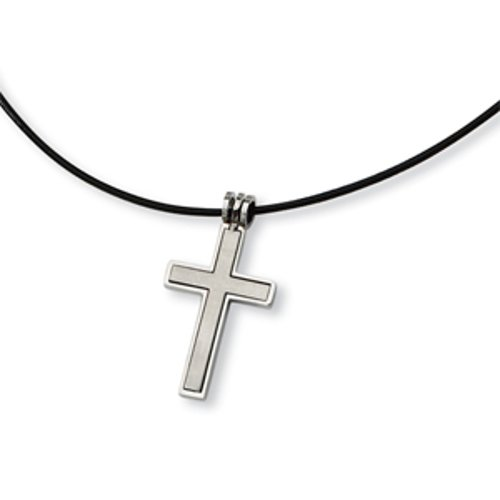 Leather Cord Cross Necklace by The Black Bow in The Gunman