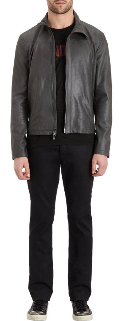 Leather Zip-Front Jacket by John Varvatos Star U.S.A in Lucy