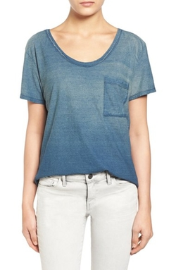 Ombré Scoop Neck Pocket T-Shirt by Treasure&Bond in American Housewife