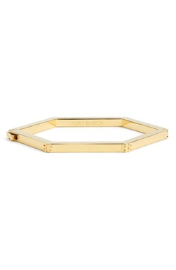 Logo Hexagon Hinged Bracelet by Tory Burch in Ballers