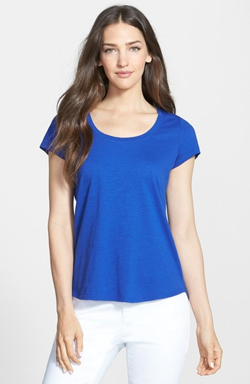 Organic Cotton Scoop Neck Tee by Eileen Fisher in Trainwreck