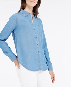 Chambray Pocket Shirt by Ann Taylor in Chi-Raq