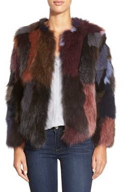 Multicolor Genuine Fox Fur Jacket by Belle Fare in Scream Queens