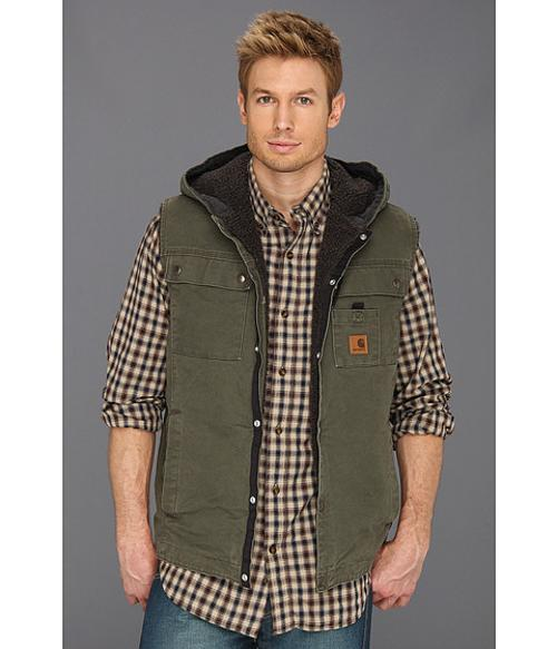 Sandstone Hooded Multi Pocket Vest by Carhartt in Mortdecai