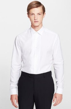 Byard Trim Fit Solid Dress Shirt by Paul Smith London in Black or White