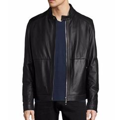 Classic Leather Biker Jacket by Boss in Billions