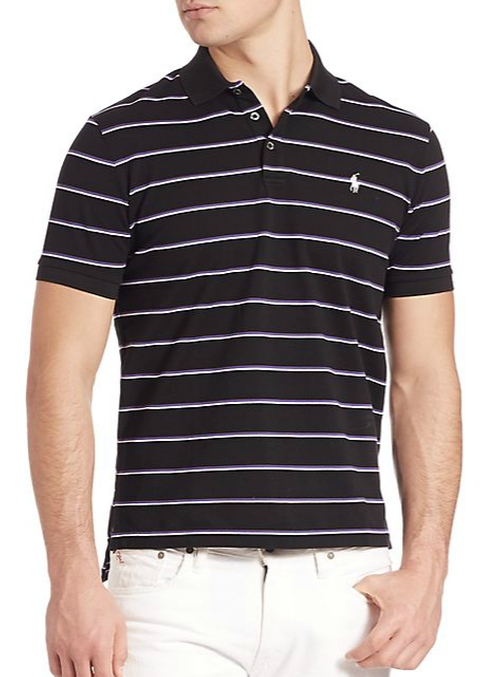 Striped Stretch-Mesh Polo Shirt by Polo Ralph Lauren in Wedding Crashers