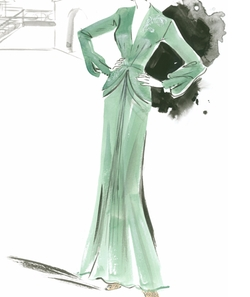 Custom Made Green Silk Long Sleeve Gown by Joanna Johnston (Costume Designer) in Allied