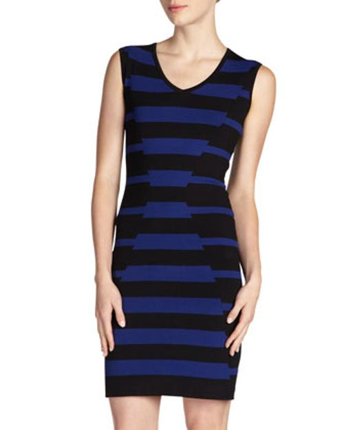 Mixed-Stripe V-Neck Sheath Dress by Carmen by Carmen Marc Valvo in About Last Night