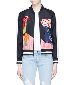Felisa Bird And Plant Print Silk Bomber Jacket by Alice + Olivia in Empire