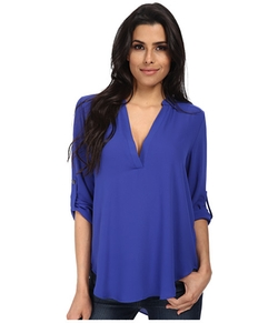 Channing V-Neck Blouse by Brigitte Bailey in Spy