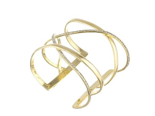 Gold-Plated Crisscross and Crystal Cuff Bracelet by Paige Novick in Entourage