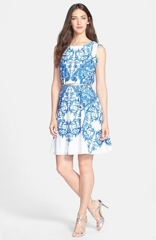 Belted Print Fit & Flare Dress by Donna Ricco in The Other Woman